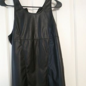 Women's pleather top with sheer back